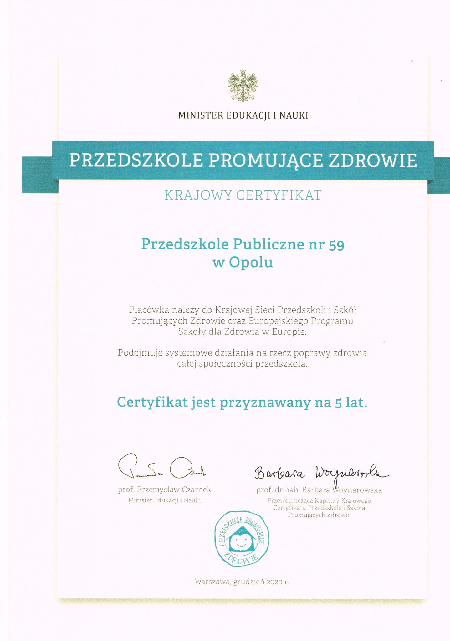 krajowy certyfikat